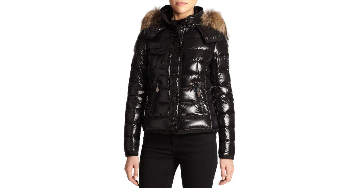 cf7457e1d Lyst - Moncler Armoise Fur-Trim Puffer Jacket in Black