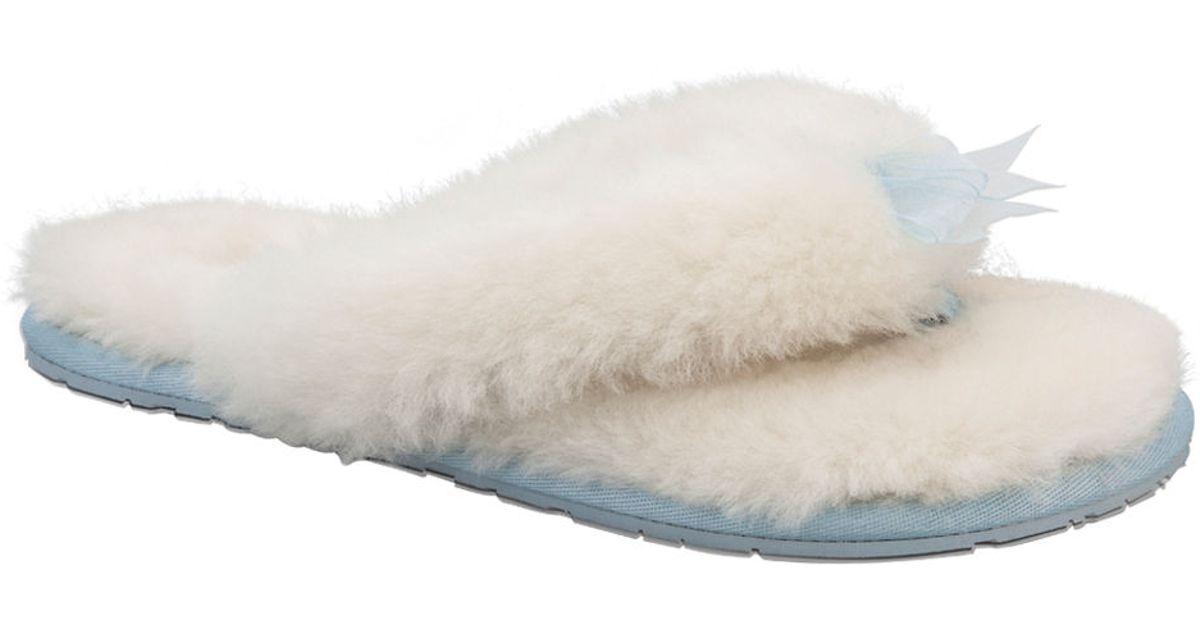 55d4e6b492e Lyst - Ugg Sheepskin Thong Slippers in White