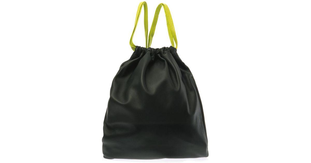 Alexander Darkgreen Leather Drawstring Backpack