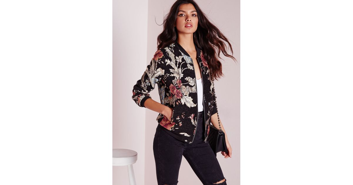 f21022dc01a Lyst - Missguided Premium Embroidered Floral Bomber Jacket Black