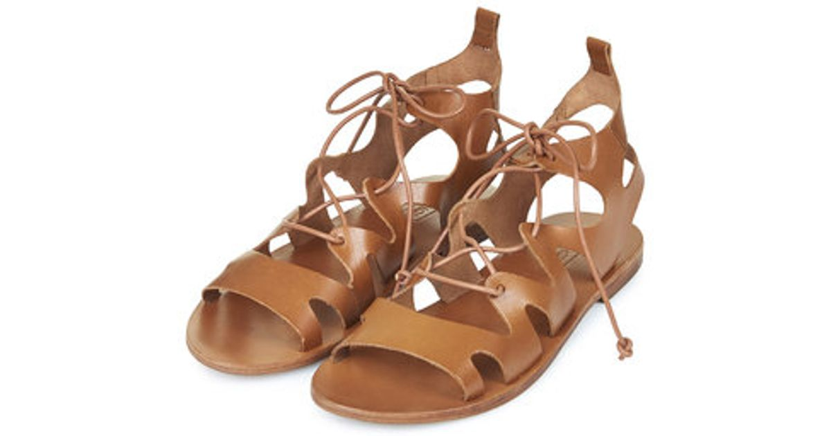 Lyst - TOPSHOP Fig Lace-up Sandals in Brown 6e6983a30