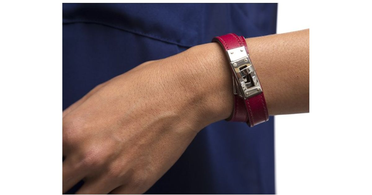 6a5557b0f83 ... italy lyst hermès preowned red leather silver kelly double tour bracelet  in red for men 165f4