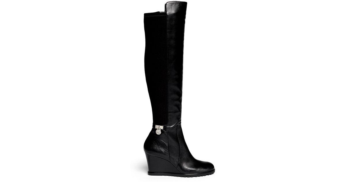 ee2f4dda5d0 Lyst - Michael Kors Hamilton  Stretch Back Wedge Boots in Black