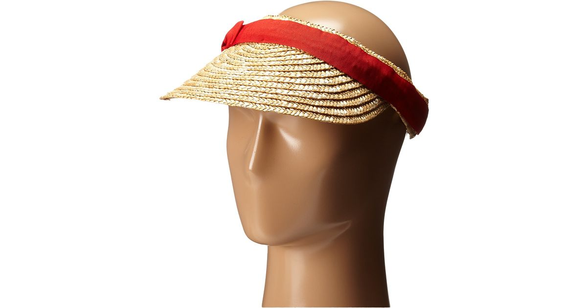 705388b6d13 Lyst - San Diego Hat Company Wsv0005 4 Inch Brim Straw Clip On Visor With  Bow in Red