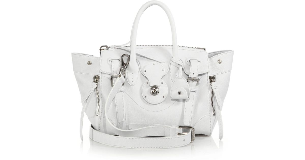 Lyst - Ralph Lauren Soft Ricky 27 Leather Satchel in White 4de7e9d67ab51