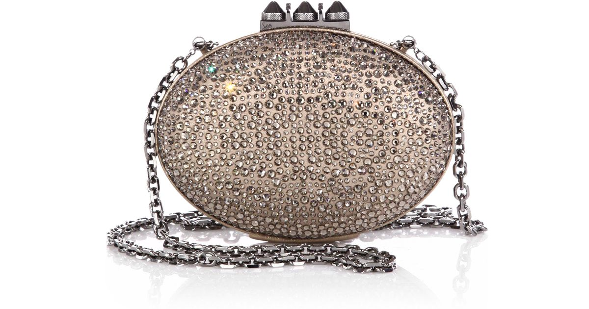 9459ad58e6 Christian Louboutin Swarovski Crystal-embellished Suede Clutch in Metallic  - Lyst