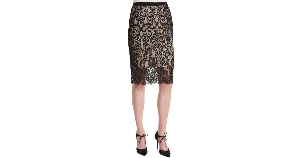 elie tahari violet lace overlay pencil skirt in black