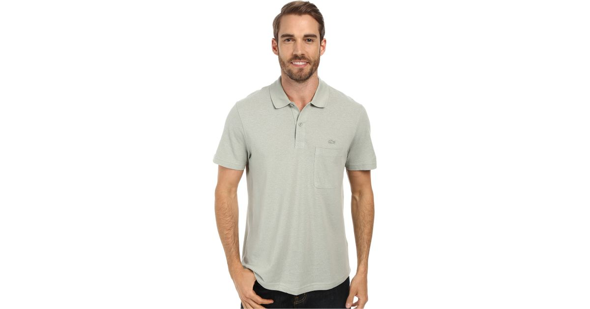 Lacoste Cotton Linen Polo With Pocket In Green For Men