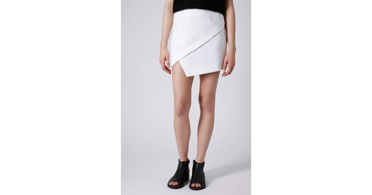 75851a29af TOPSHOP Asymmetric Wrap Mini Skirt in White - Lyst