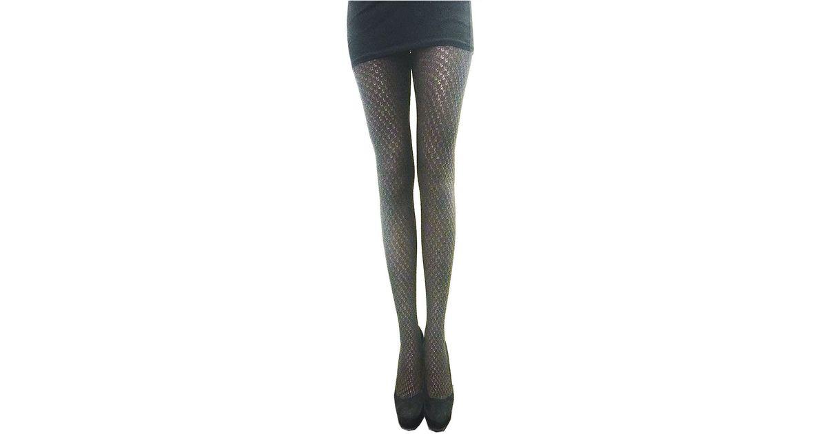 f3631a141ed65 Lyst - Zac Zac Posen Metallic Yarn Fashion Tights in Black