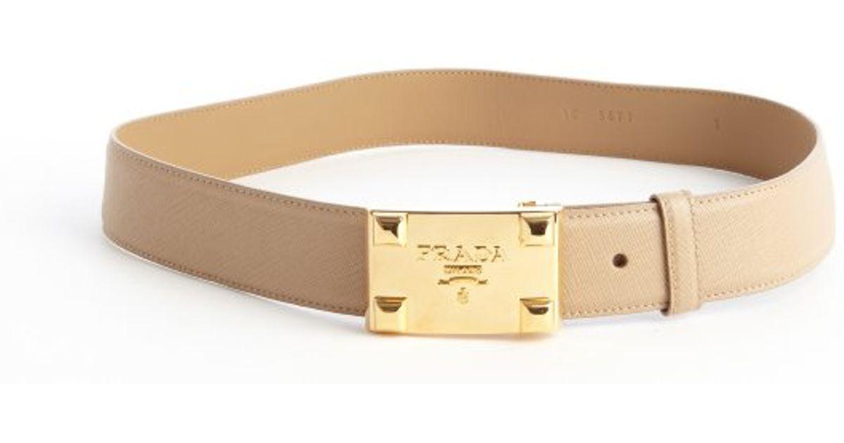 Prada Sand Saffiano Leather Gold Buckle Belt in Beige (sand) | Lyst
