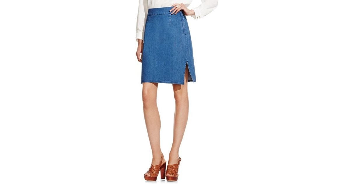 vince camuto stretch denim pencil skirt in blue lyst