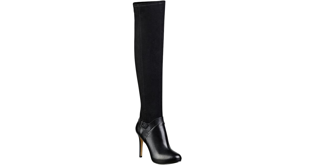 143274ebd63 Guess Elka Leather Over-the-knee Boots in Black - Lyst