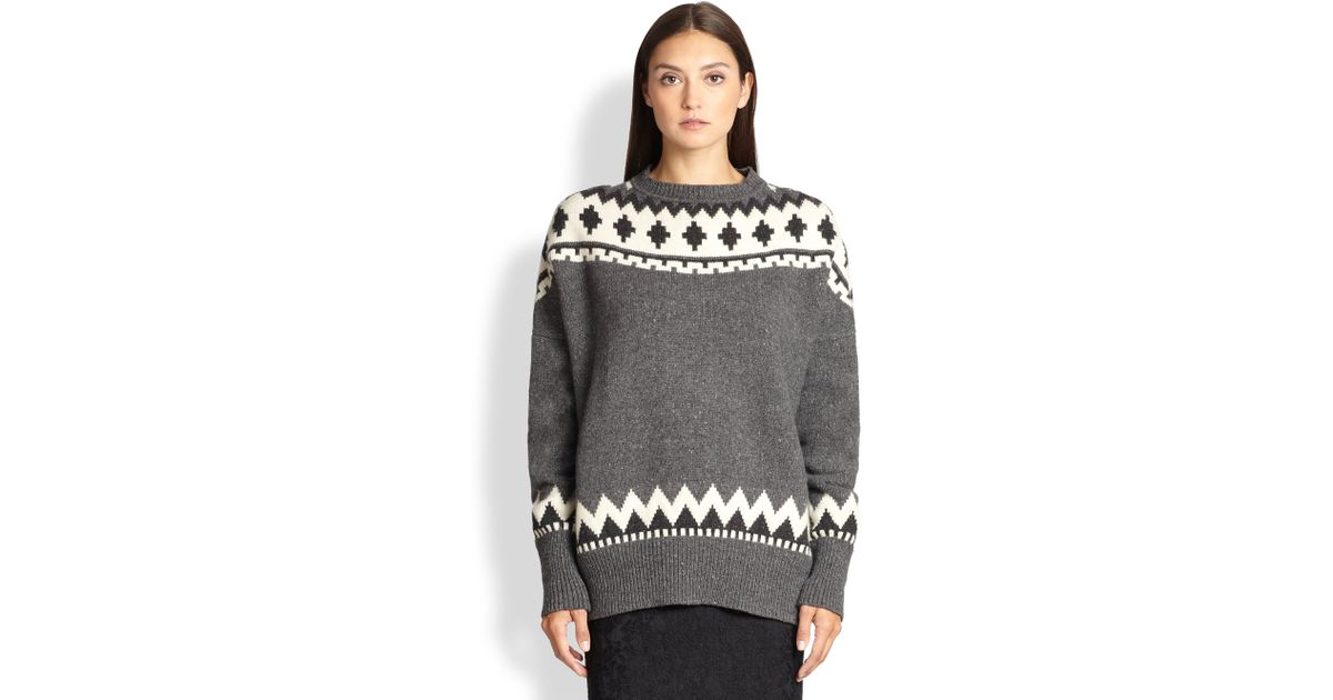 Lyst - Adam lippes Wool & Cashmere Fair Isle Sweater in Gray