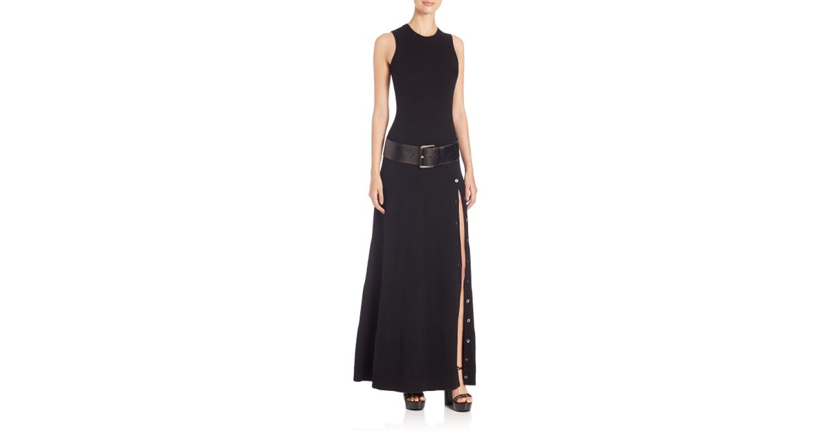 Lyst - Michael Kors Sleeveless Cashmere Maxi Dress in Black