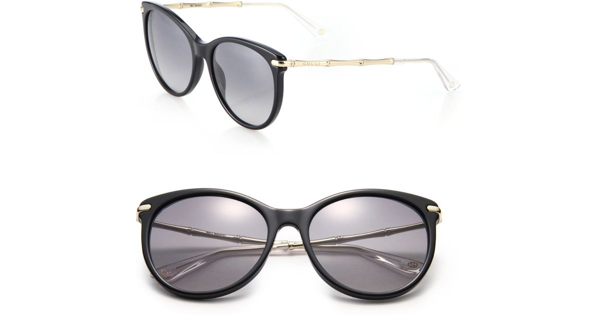ae5e9d68202 Lyst - Gucci Bamboo 56mm Oval Frame in Black