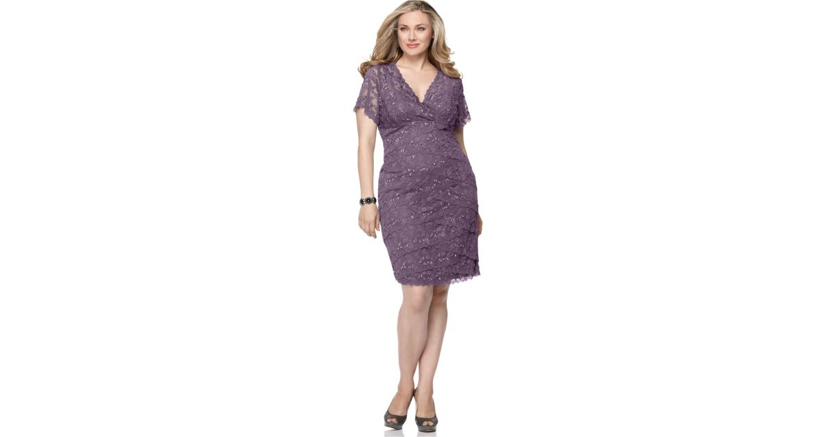 Lyst - Marina Plus Size Cap-Sleeve Lace Cocktail Dress in Purple