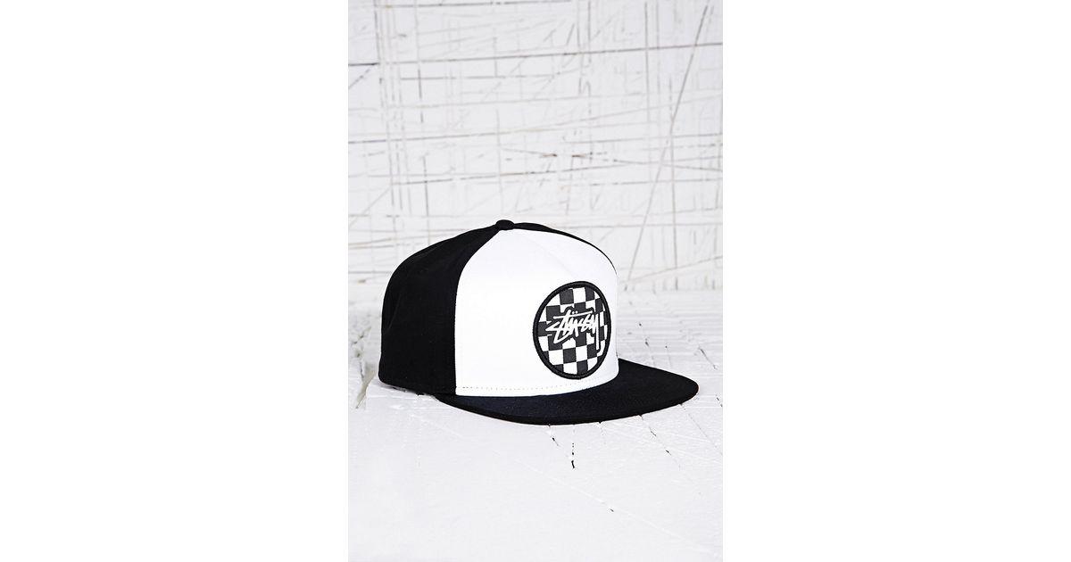 536e2495b37 Stussy Checker Snapback Cap in Black in Black for Men - Lyst