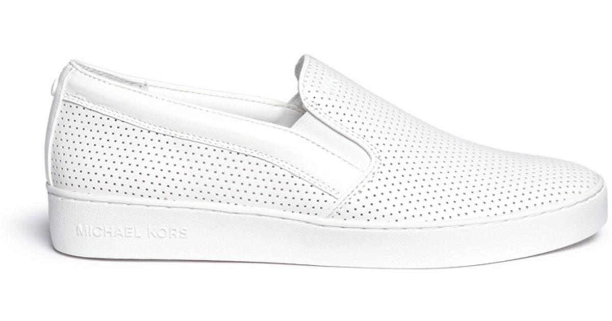 19126c217e4b0 Lyst - Michael Kors  keaton  Perforated Leather Skate Slip-ons in White