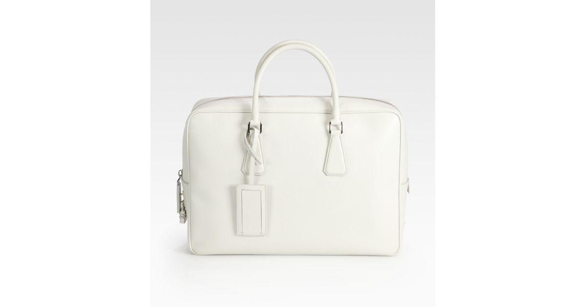 95d57b9fe8975 Prada Saffiano Leather Travel Bag in White for Men - Lyst