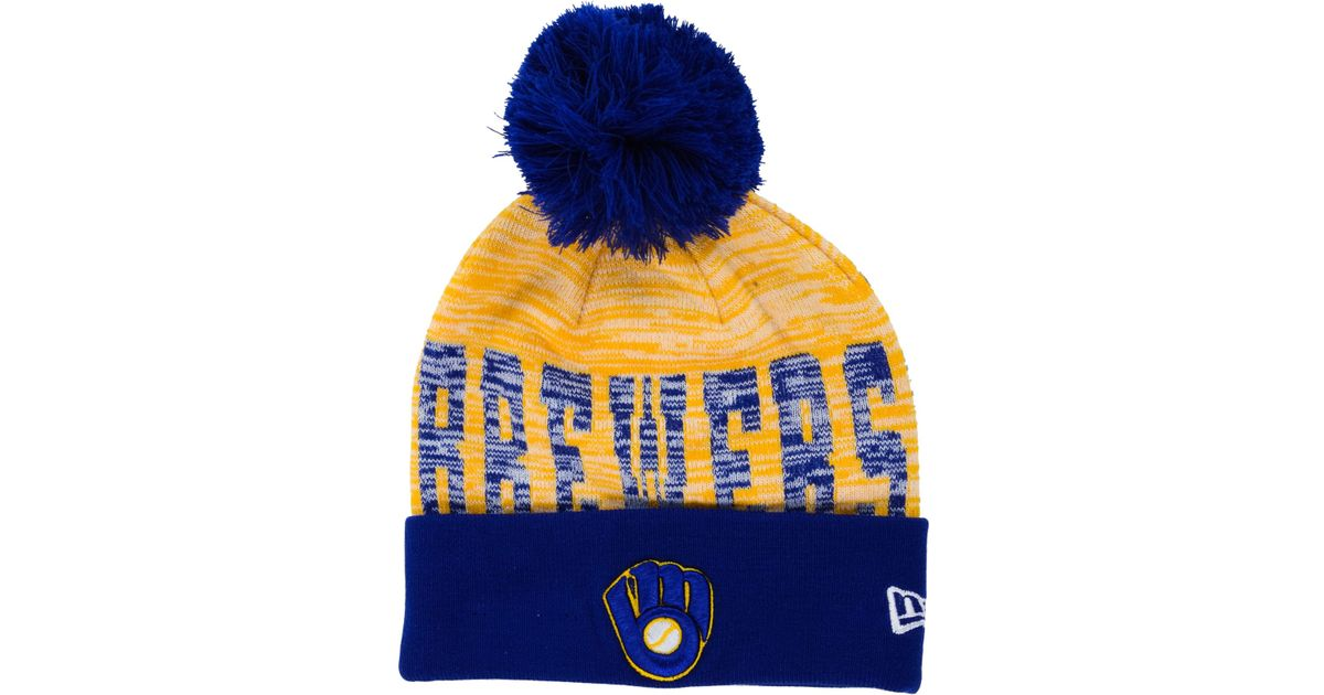 ... low price lyst ktz milwaukee brewers word fuzz knit hat in blue for men  3c122 a0f23 bd681ee99b48