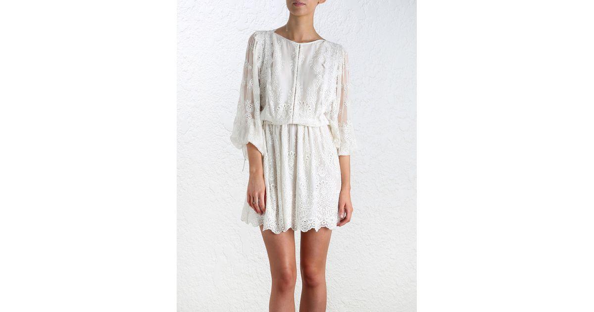 Zimmermann alchemy twine embroidery dress in white lyst