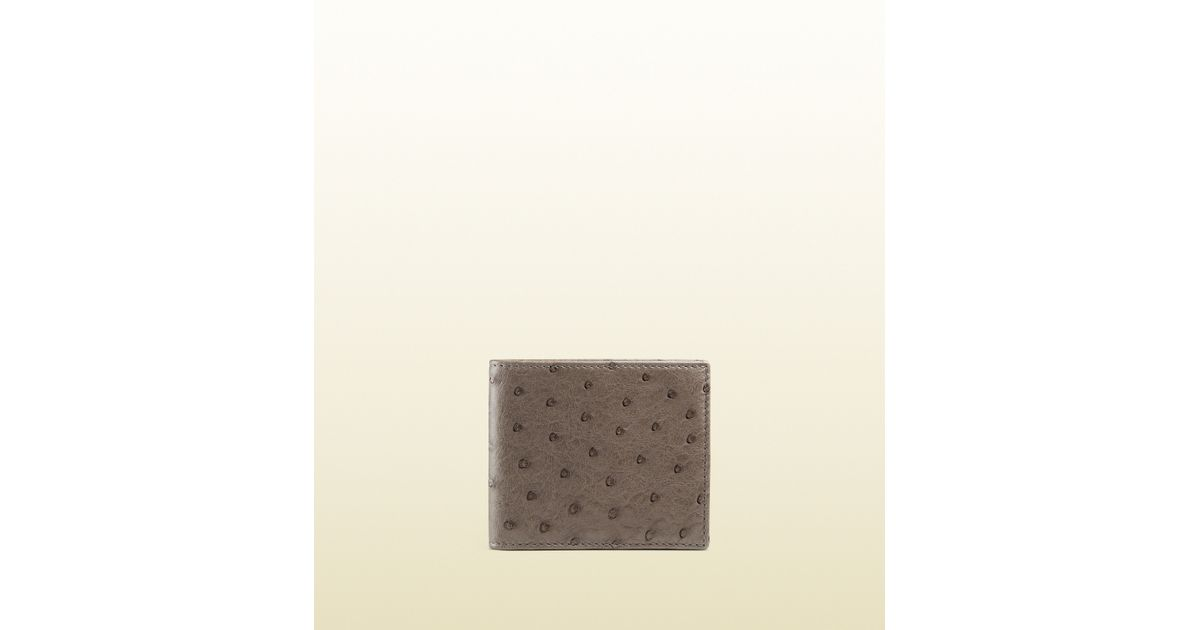 ff83e15dd3f Lyst - Gucci Ostrich Bi-fold Wallet in Gray for Men