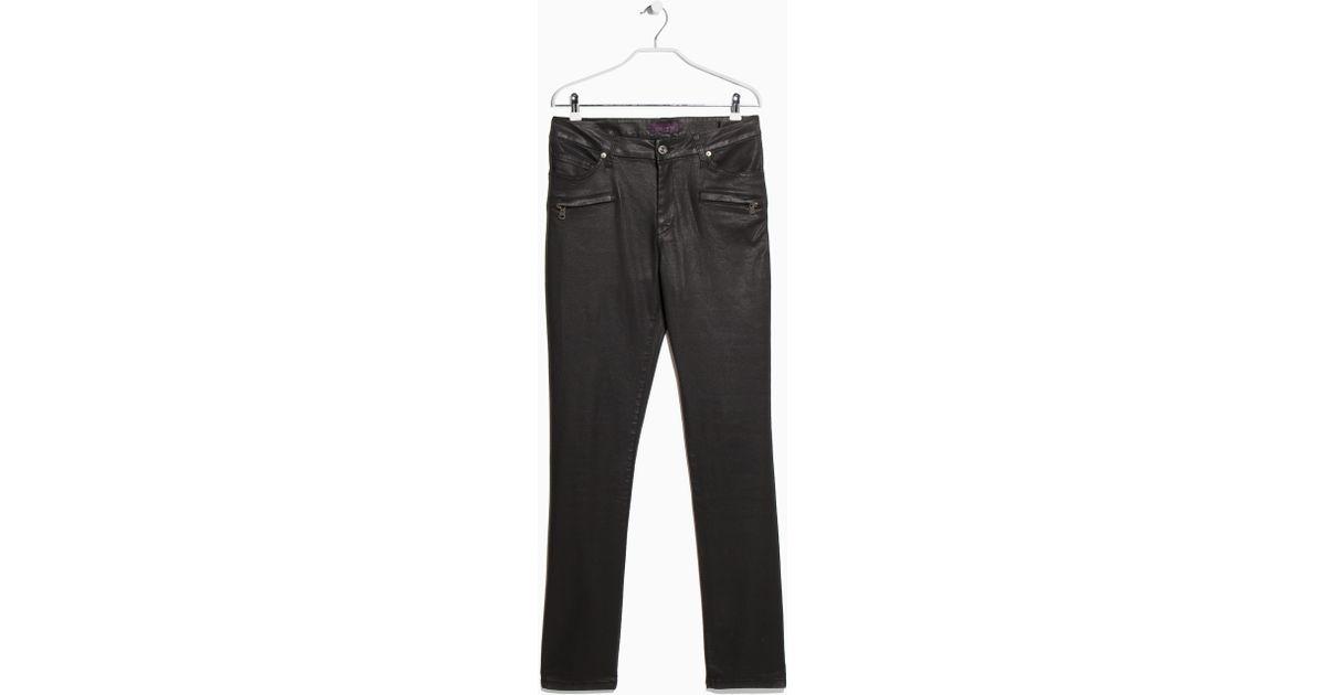 ded0c670c Violeta by Mango Black Coated Slim-Fit Carmen Jeans