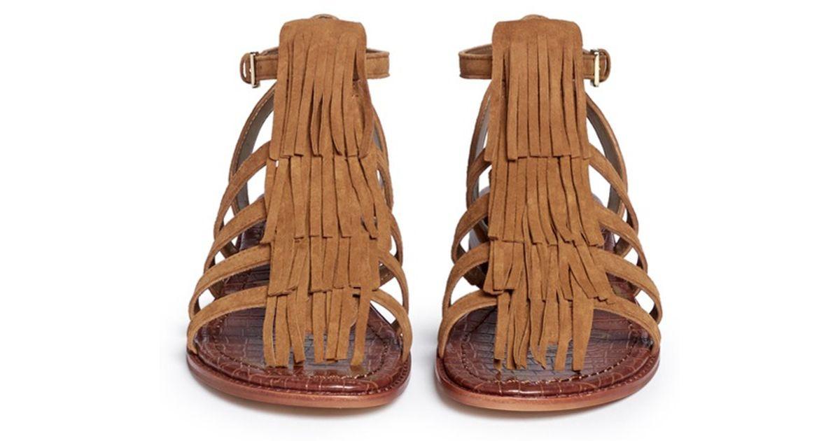 4209236d4d7a Lyst - Sam Edelman Estelle Fringed Suede Sandals in Brown