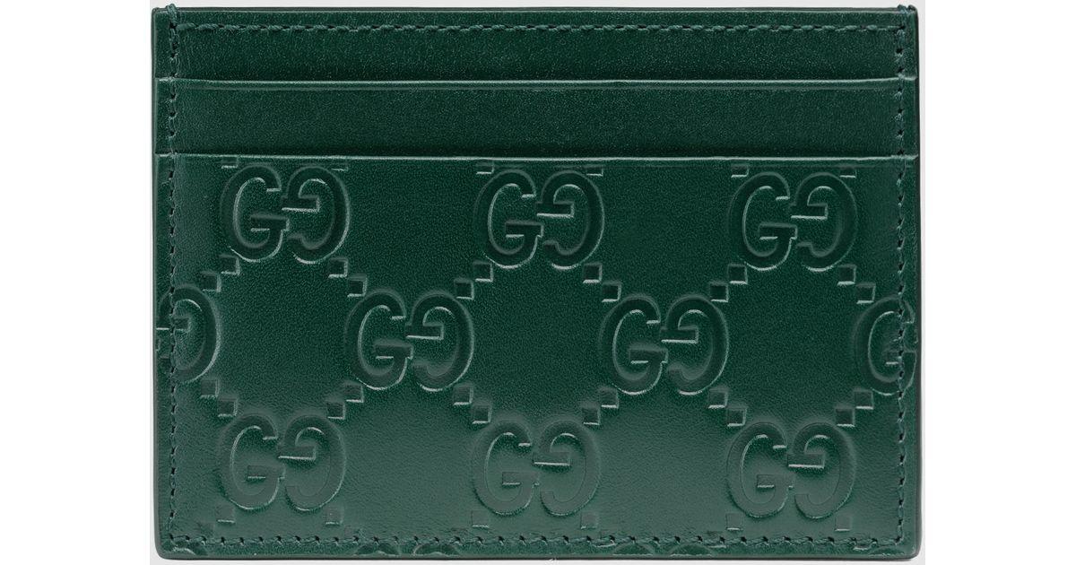 90edcc811d6 Gucci Signature Card Case in Green - Lyst