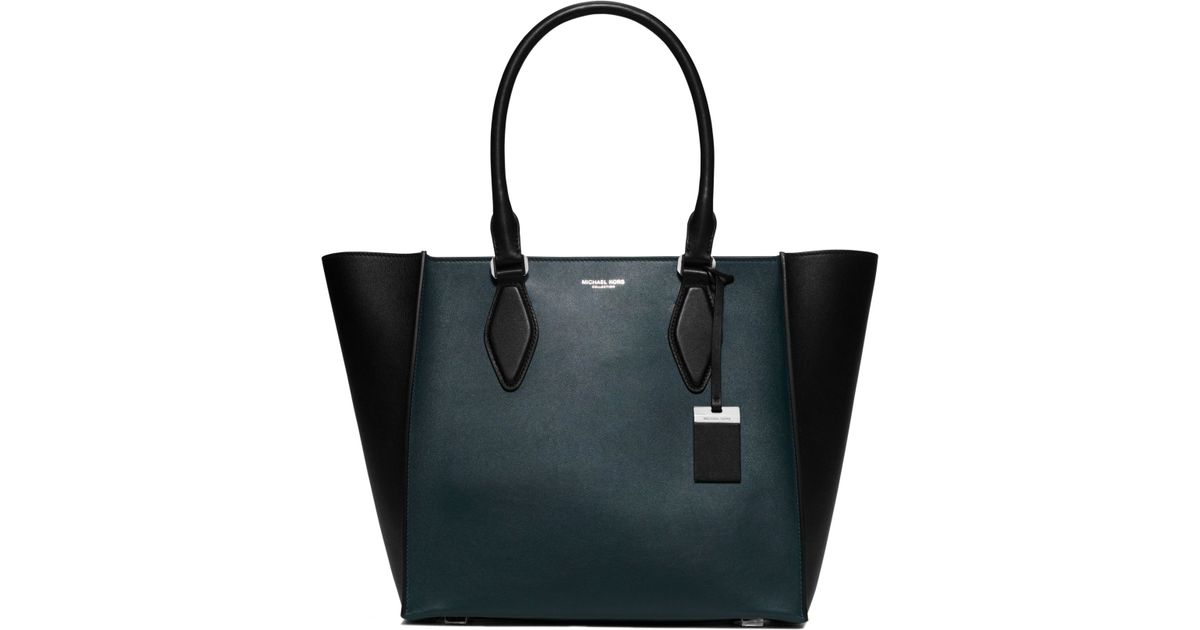 f01e73d34301 Michael Kors Gracie Large Color-block Leather Tote in Blue - Lyst