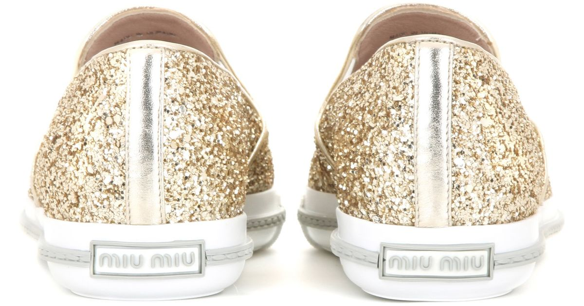78feb54d40e Lyst - Miu Miu Embellished Glitter Slip-on Sneaker in Metallic