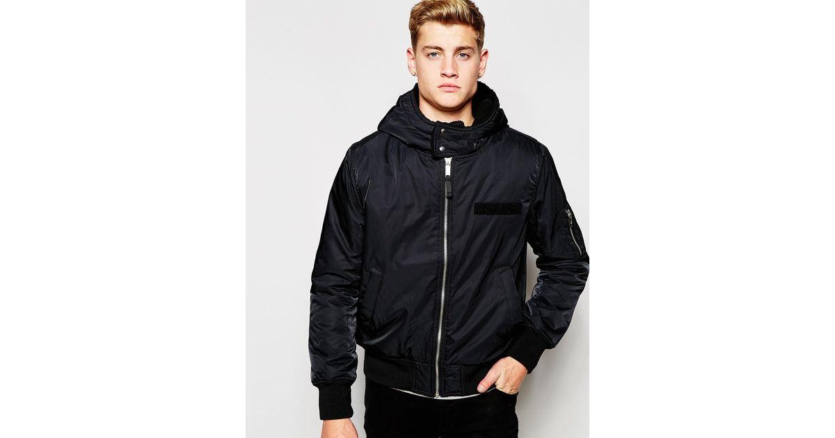 Lyst - Cheap monday Bomber Jacket Hooded Nylon - Black in Black ...