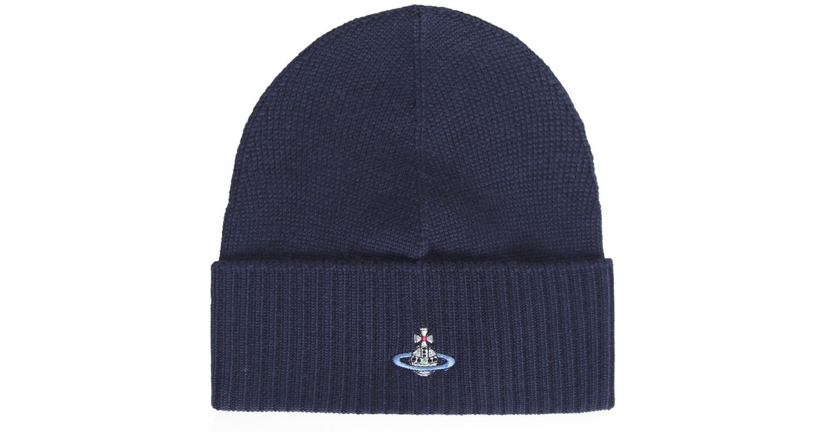 Lyst - Vivienne Westwood Orb Beanie Hat in Blue for Men e355a3519ba