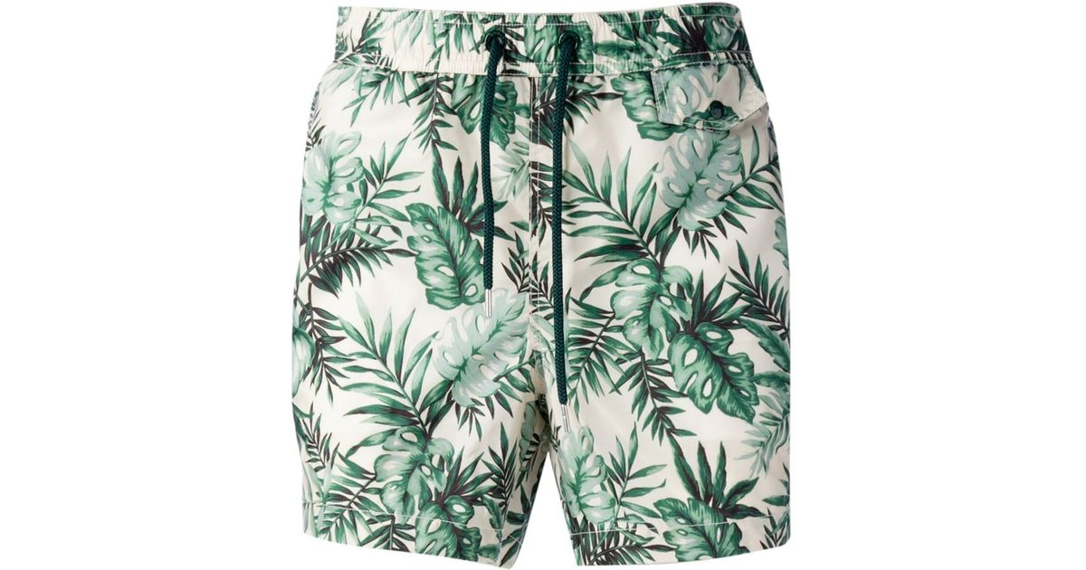 22daeeb27a Moncler Floral-Print Swim Shorts in Green for Men - Lyst