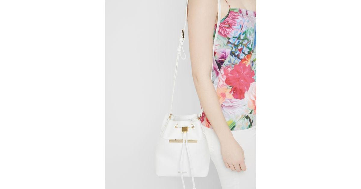 46f16ec05688c1 Ted Baker Crosshatch Leather Mini Bucket Bag in White - Lyst