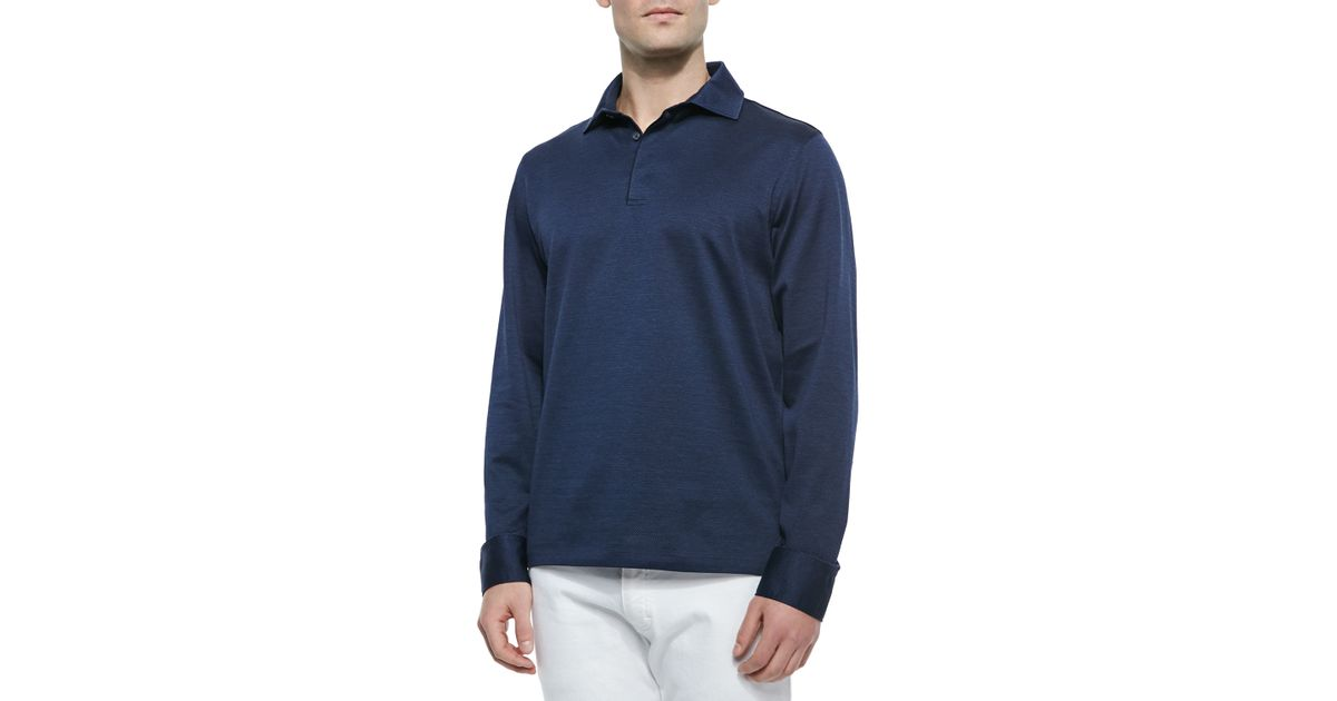 Ermenegildo zegna long sleeve knit polo shirt in blue for for Zegna polo shirts sale