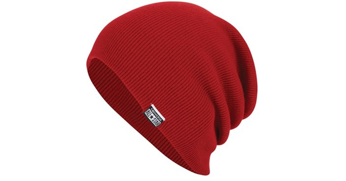 3f25869ee3c Lyst - Converse Slouchy Rib Knit Beanie in Red