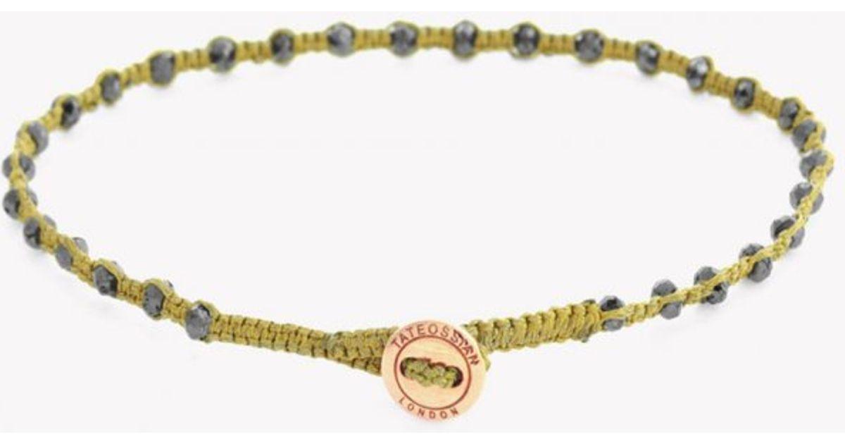 Lyst - Tateossian Diamond Knot Bracelet In Gold   Nylon Macramé With 30  Black Diamonds   18k Rose Gold Button in Metallic for Men 8bdc9f0060499