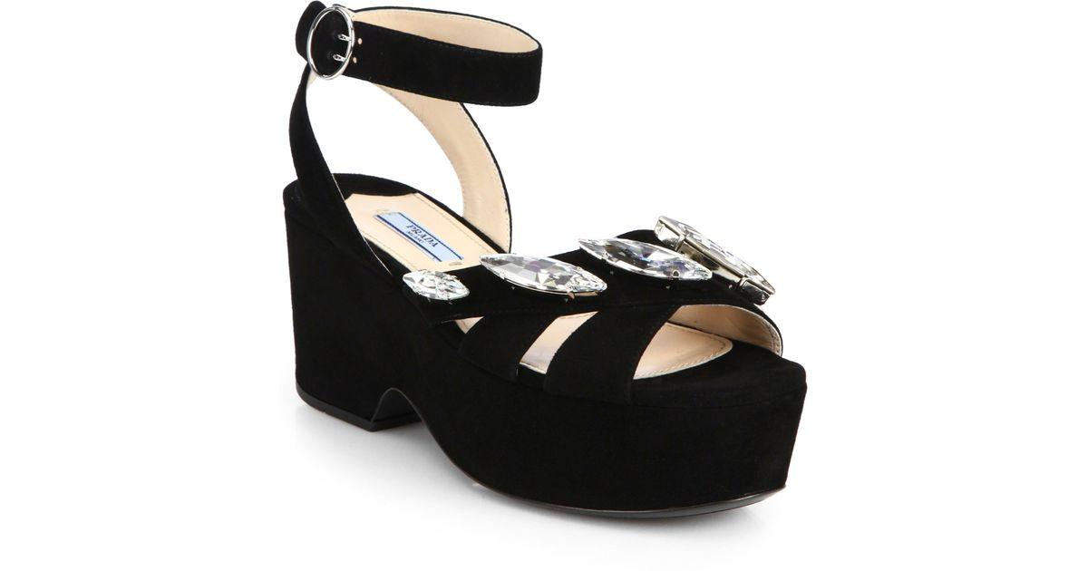 28e4a42d8ec3 Lyst - Prada Jeweled Suede Platform Sandals in Black