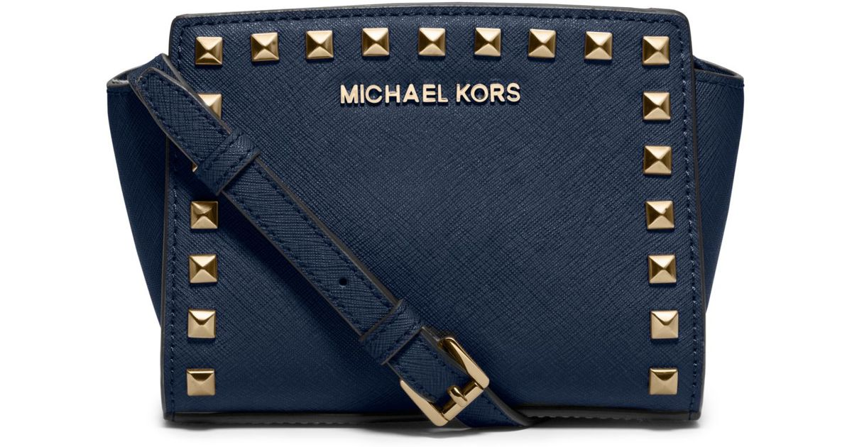 1585f609c ... denmark lyst michael kors selma mini studded leather crossbody in blue  564ee a064d