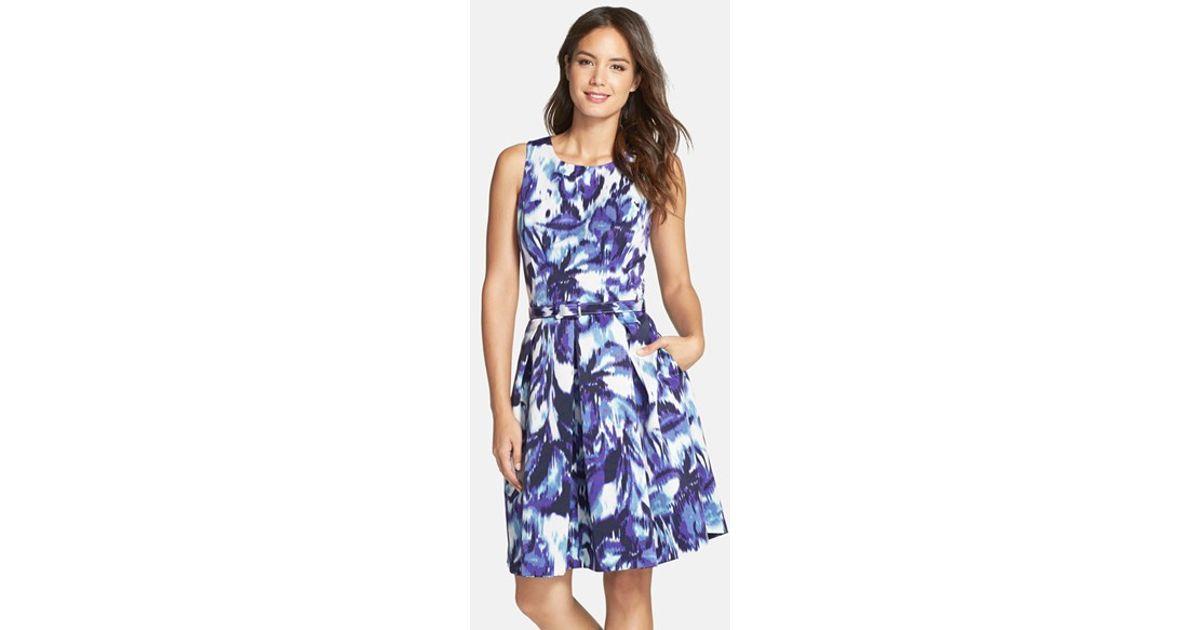 75ad2cccee5a Eliza J. Women s Floral Print Faille Fit   Flare Dress