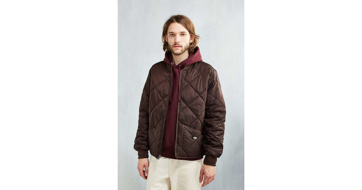 Lyst Dickies Diamond Quilted Jacket In Brown For Men