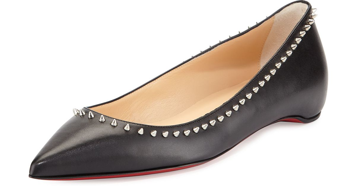 red spiked louboutins - christian louboutin mix knotted red sole ballerina flat, christian ...