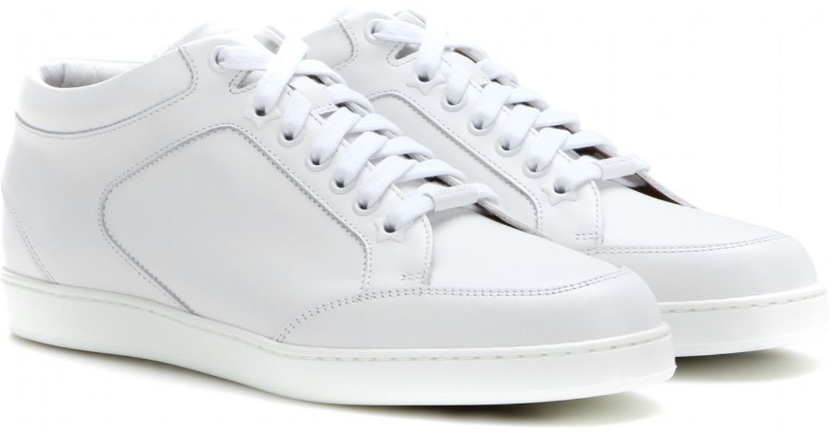 1fbc77bb329 Jimmy Choo Miami Leather Sneakers in White - Lyst