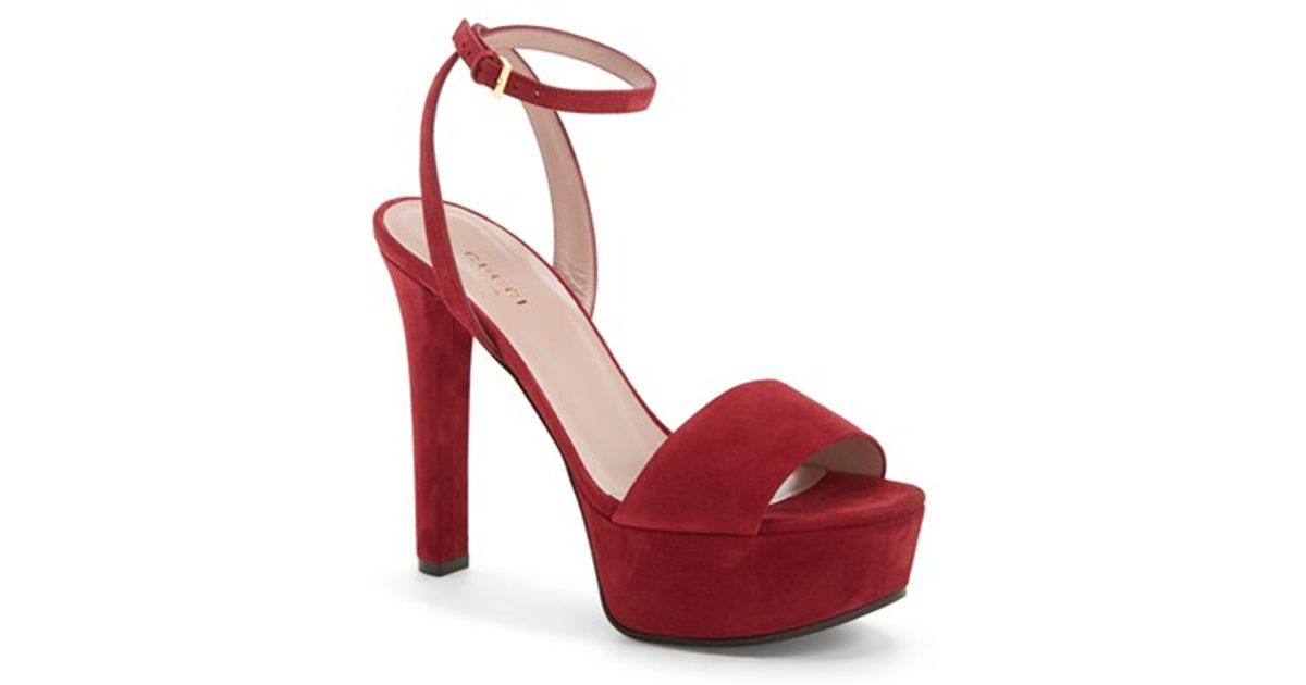 16d5cf3ee61 Lyst - Gucci Leila Suede Platform Sandals in Purple