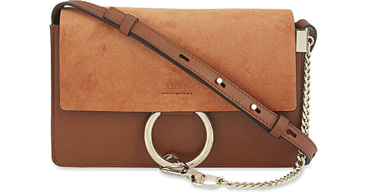 replica chloe shoes - Chlo�� Faye Small Leather Suede Clutch in Brown (Tobacco) | Lyst