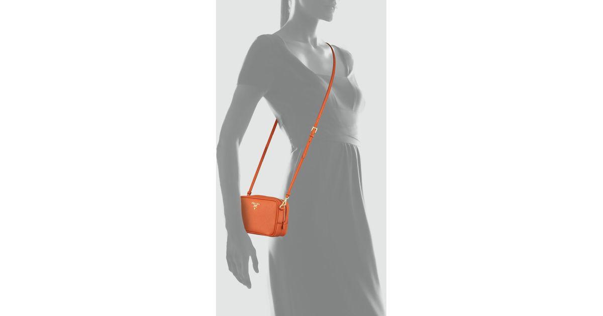 7c41192c556a Prada Saffiano Small Zip Crossbody Bag in Orange - Lyst