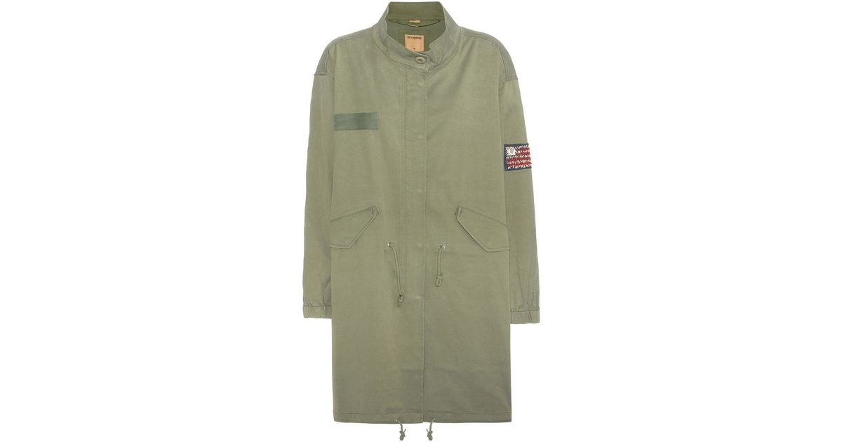 true religion cotton blend parka in green lyst. Black Bedroom Furniture Sets. Home Design Ideas