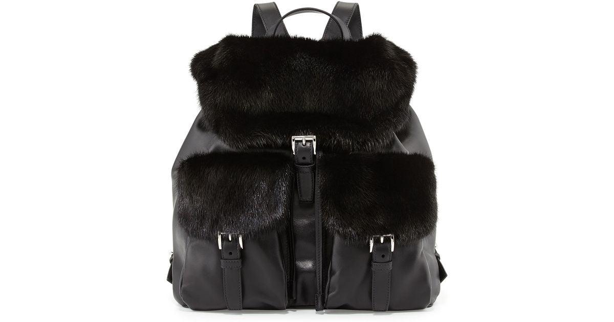 Prada Soft Calf \u0026amp; Mink Fur Backpack in Black   Lyst